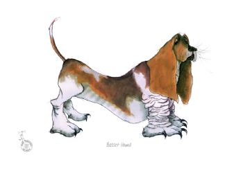 Fun Dog Cartoon Print - Basset Hound
